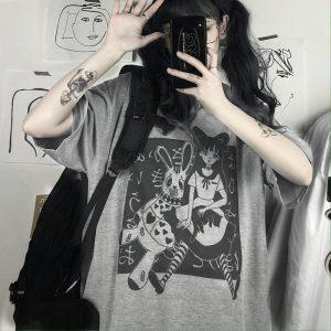 E-girl Harajuku Punk Aesthetic T-Shirt with cartoon print 1