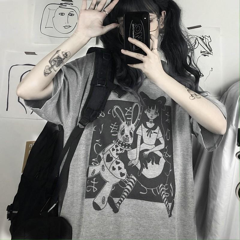 E-girl Harajuku Punk Aesthetic T-Shirt with cartoon print 41