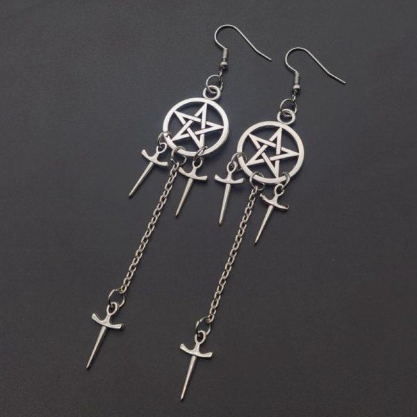 Gothic E-girl E-boy Punk Pentagram Swords Earrings 2