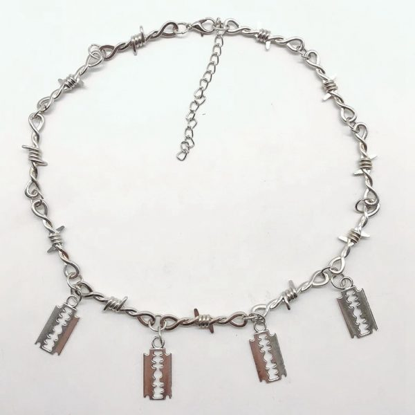 E-girl E-boy Gothiс Punk Necklace with Blades and Barbed Wire 2