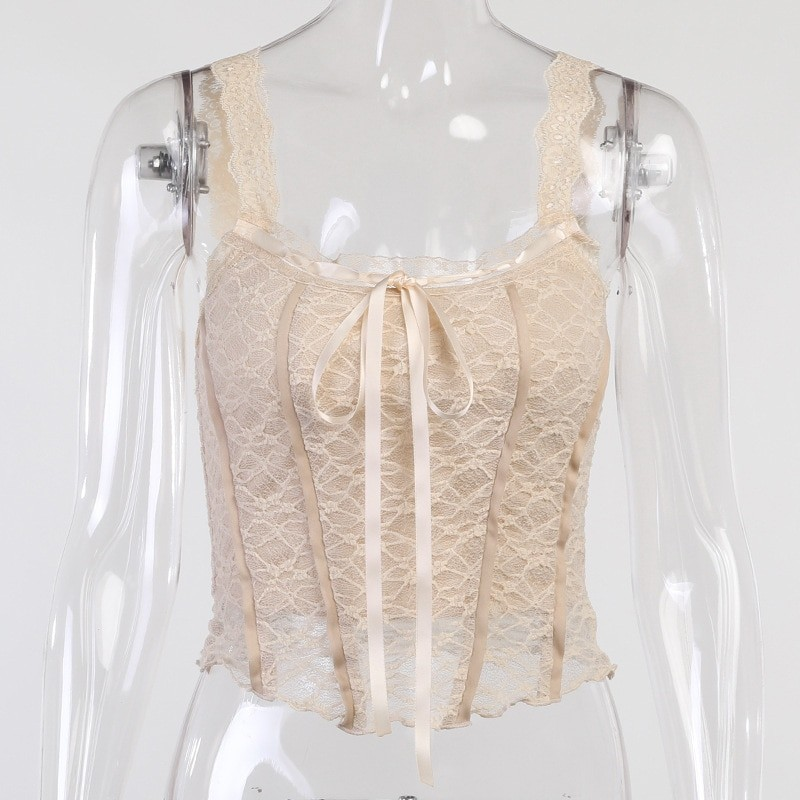 E-girl Soft girl Y2K Retro Bow Lace Top 49