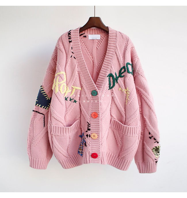 Harajuku Y2K  Cottagecore Loose Knitted Cardigan with Pockets and Embroidery 57