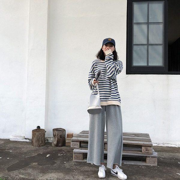 Harajuku E-girl Grunge striped cotton Sweatshirt 2