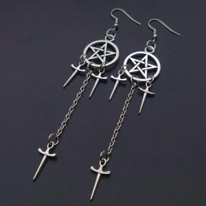 Gothic E-girl E-boy Punk Pentagram Swords Earrings 1