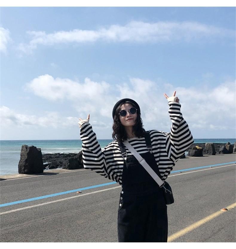 Harajuku E-girl Grunge striped cotton Sweatshirt 50