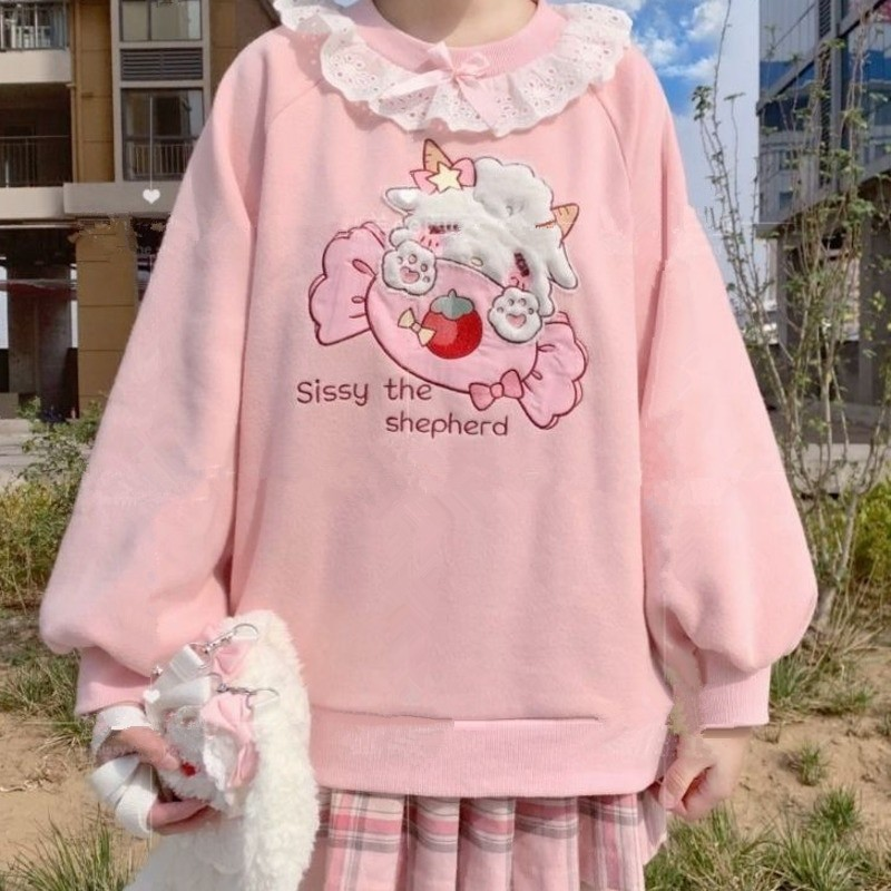 Harajuku Soft girl  Cute Pullover Lamb And Candy Embroidery 41