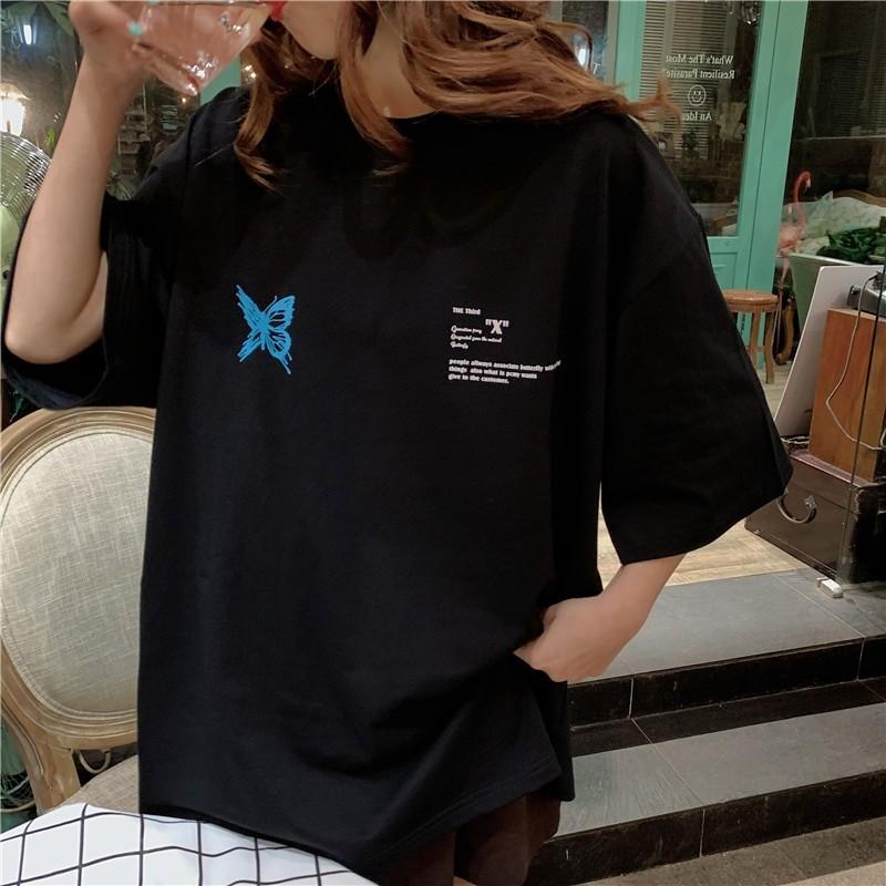 Harajuku E-girl E-boy Butterfly Print Loose T-shirt 46