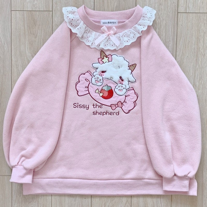 Harajuku Soft girl  Cute Pullover Lamb And Candy Embroidery 45