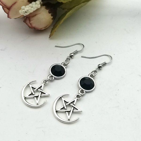 E-girl Gothic Crescent and Pentagram Long Earrings 4