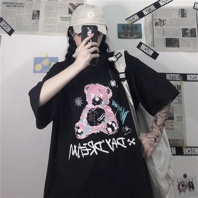 E-girl E-boy Gothic Punk Harajuku T-Shirt with Bear Printing 41