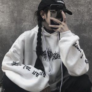 Harajuku Gothic E-girl Loose Hoodie with gothic print 1