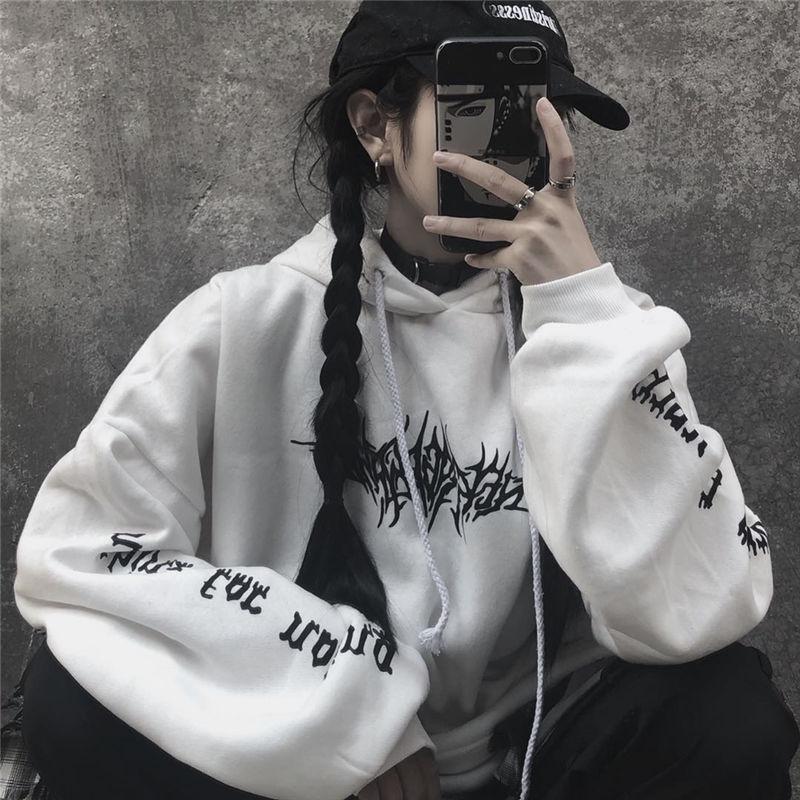 Harajuku Gothic E-girl Loose Hoodie with gothic print 43