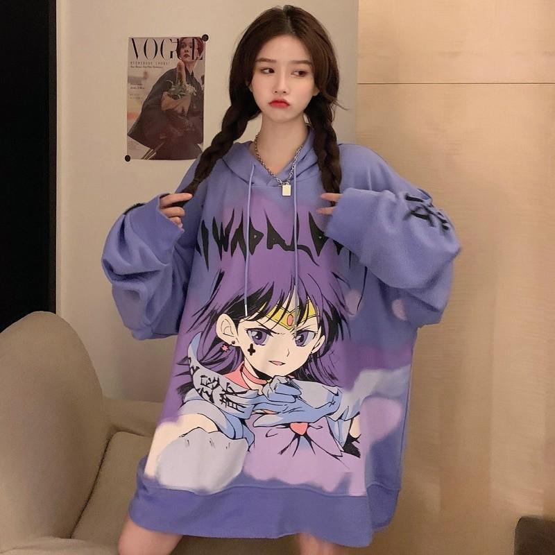 E-girl E-boy Harajuku Anime Cute Girl Oversized Hooded Sweatshirt 46