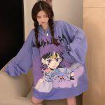 E-girl E-boy Harajuku Anime Cute Girl Oversized Hooded Sweatshirt 3