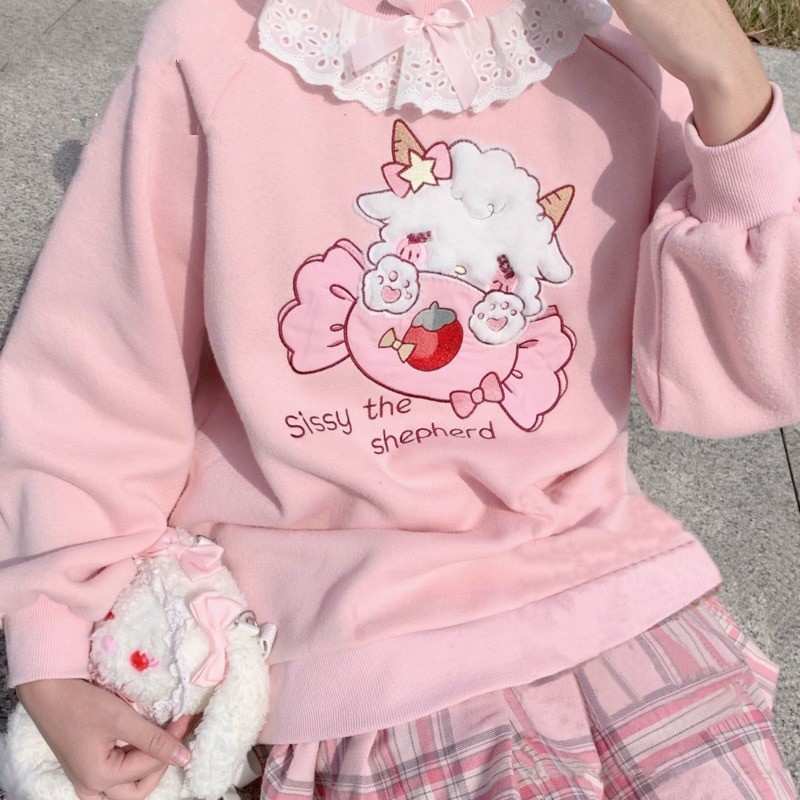 Harajuku Soft girl  Cute Pullover Lamb And Candy Embroidery 42