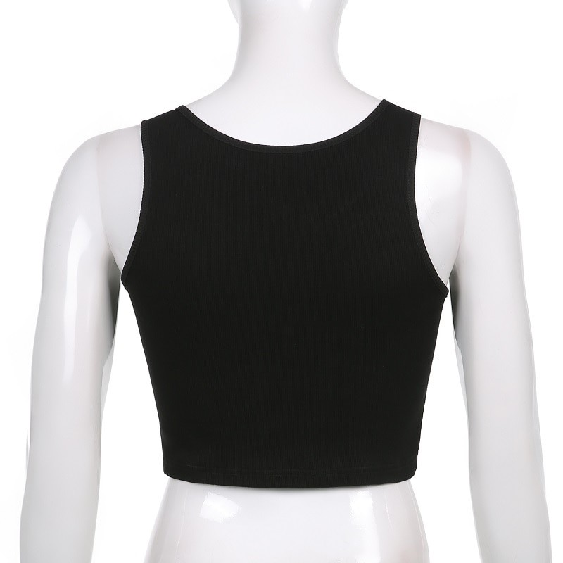 E-girl Gothic Punk Y2K Aesthetic Crop Top  with skeleton print 45