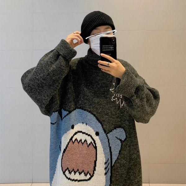 Harajuku E-boy E-girl Turtlenecks Oversized Shark Sweater 2