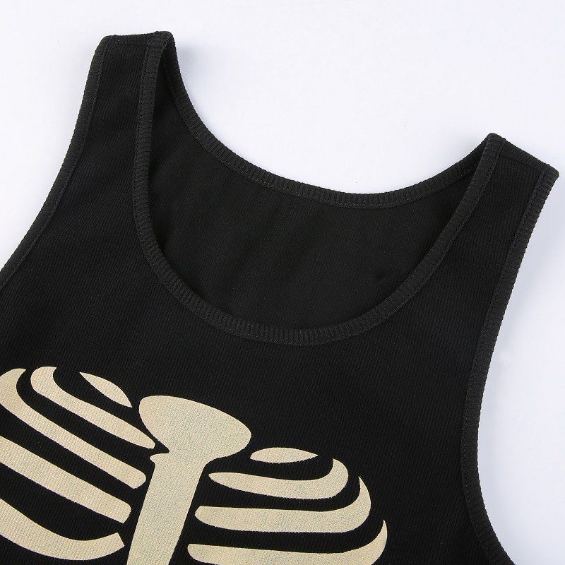E-girl Gothic Punk Y2K Aesthetic Crop Top  with skeleton print 47