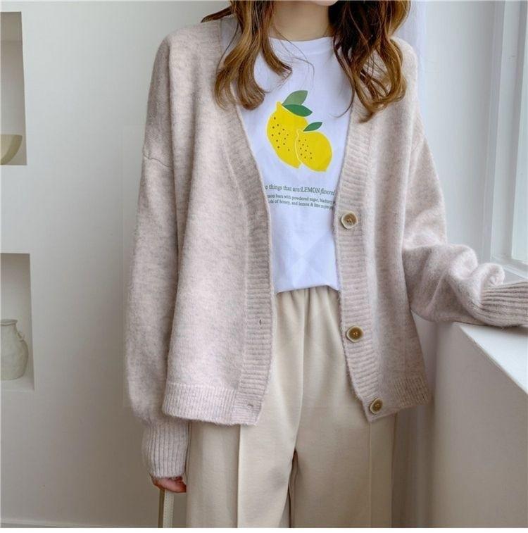 Harajuku E-girl Soft girl Kawaii Cardigan Solid Cashmere 42