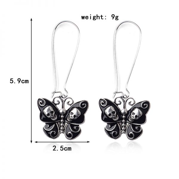 E-girl Gothic Punk Black Butterfly Wings Inlaid With Skulls 2