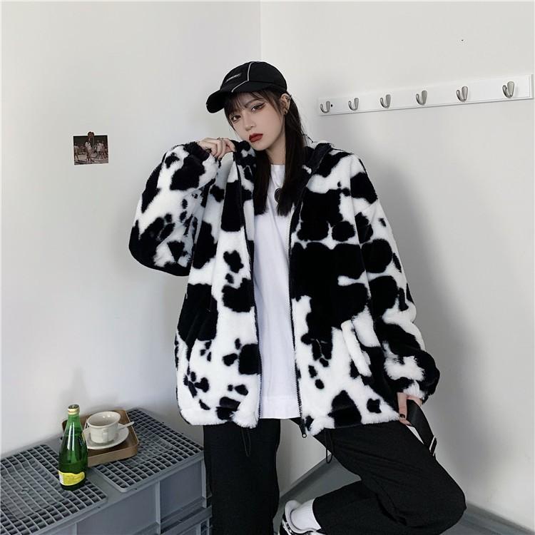 Harajuku E-girl Loose Coat with Cows Printing 42
