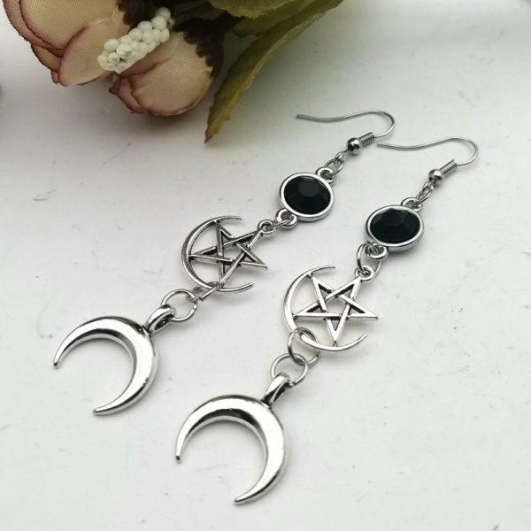 E-girl Gothic Crescent and Pentagram Long Earrings 1