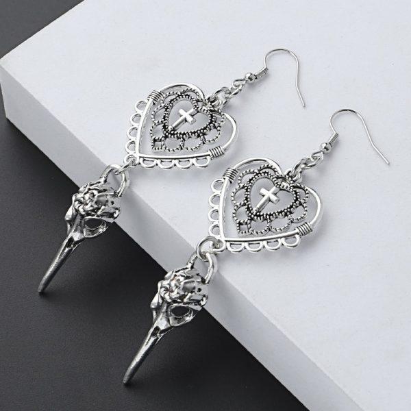 E-girl Gothic Punk Heart Cross and Bird Skull Earrings 2
