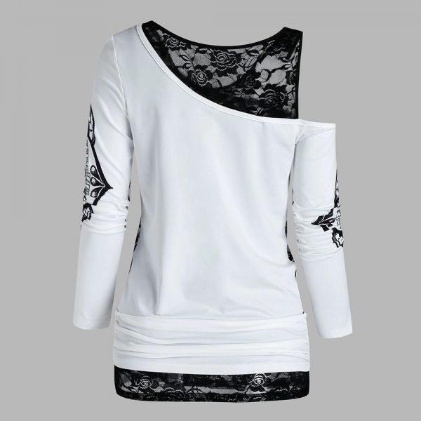 E-girl Gothic Punk Y2K Off Shoulder T-Shirt with Skull print 2