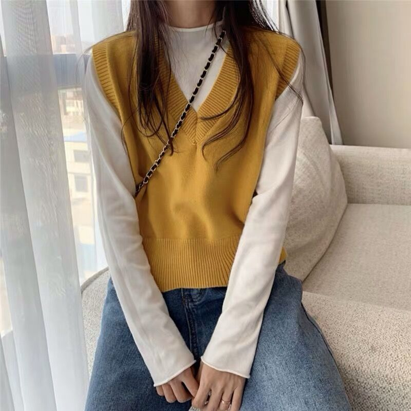 Soft Girl E-girl Harajuku Knitted V-Neck Sleeveless Vest 42