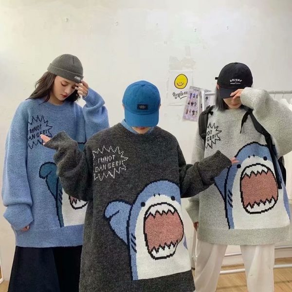 Harajuku E-boy E-girl Turtlenecks Oversized Shark Sweater 3