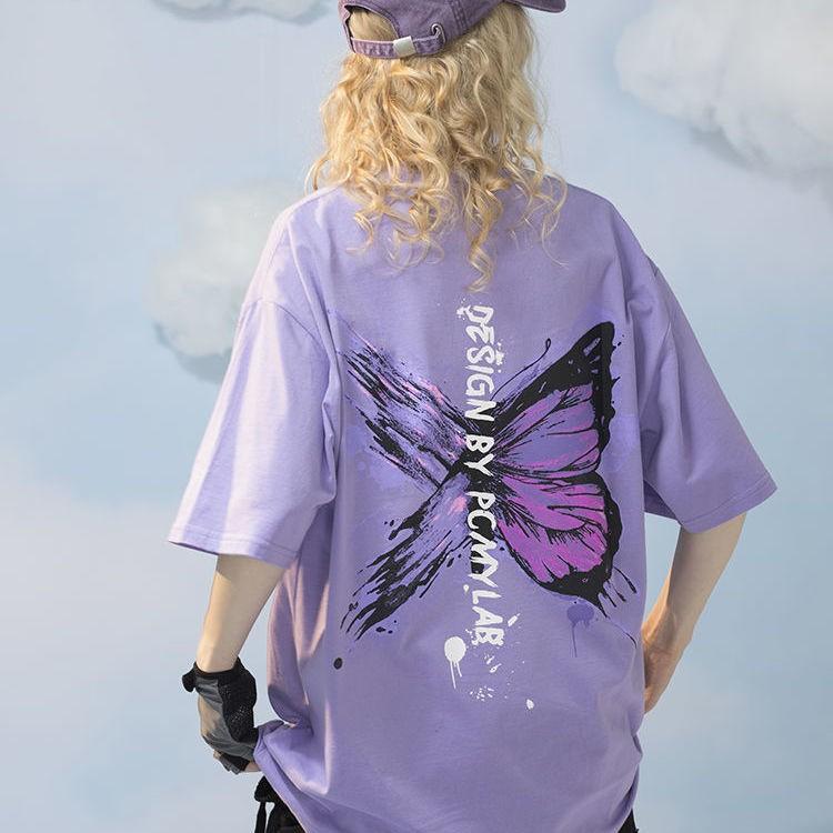 Harajuku E-girl E-boy Butterfly Print Loose T-shirt 50