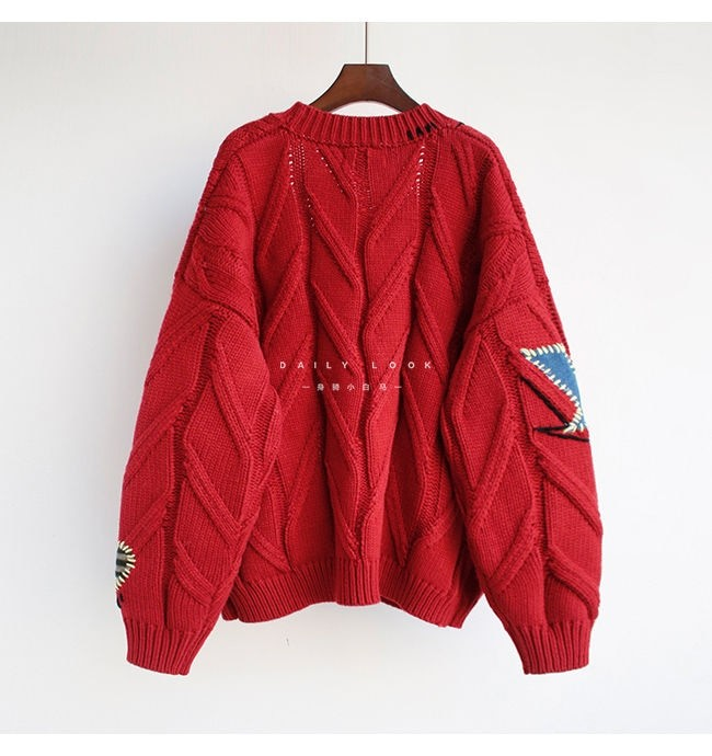 Harajuku Y2K  Cottagecore Loose Knitted Cardigan with Pockets and Embroidery 50