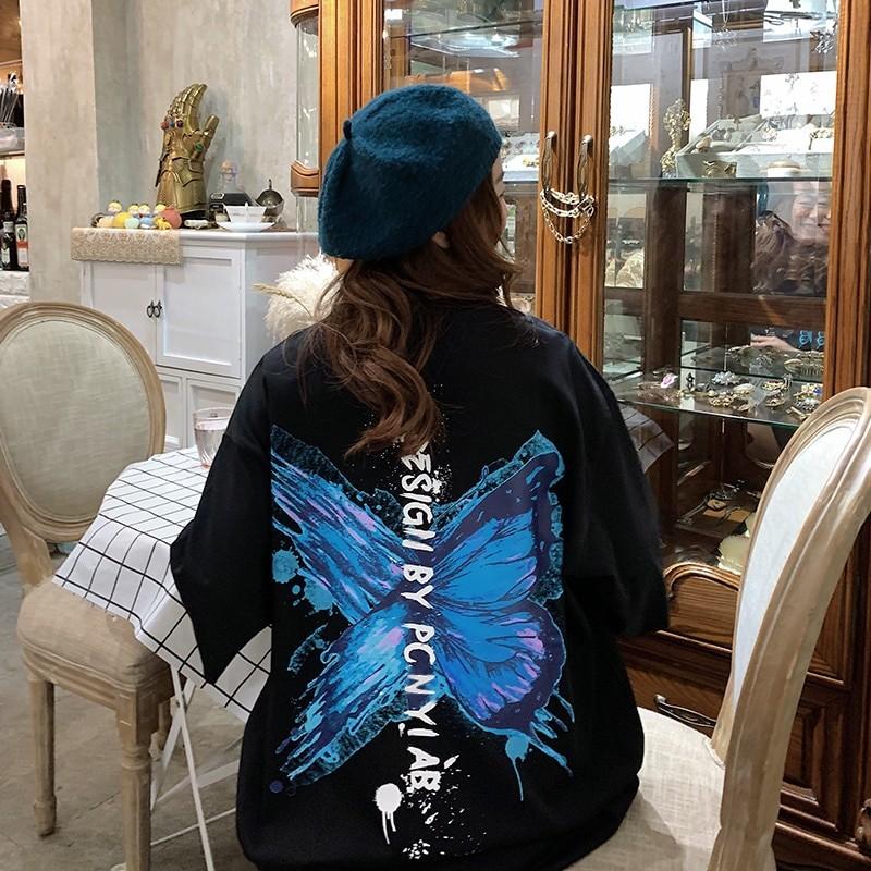 Harajuku E-girl E-boy Butterfly Print Loose T-shirt 44