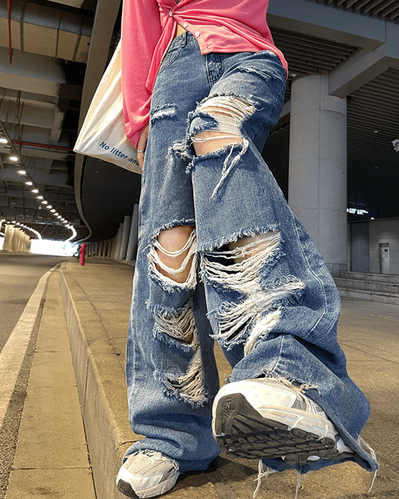 Harajuku Y2K Loose Ripped jeans with high waist 44