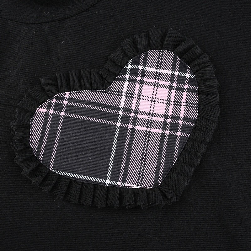 E-girl Gothic Y2K Crop top with Plaid Heart and Ruffles 47