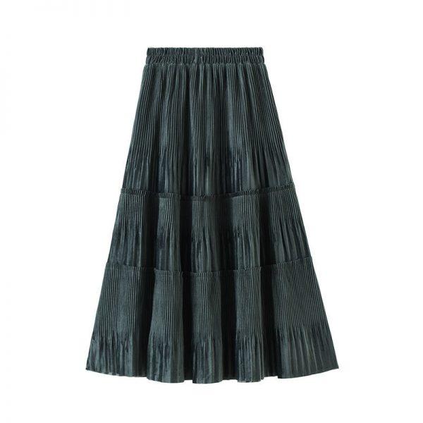 Harajuku Vintage Long Velvet Pleated Skirts 2