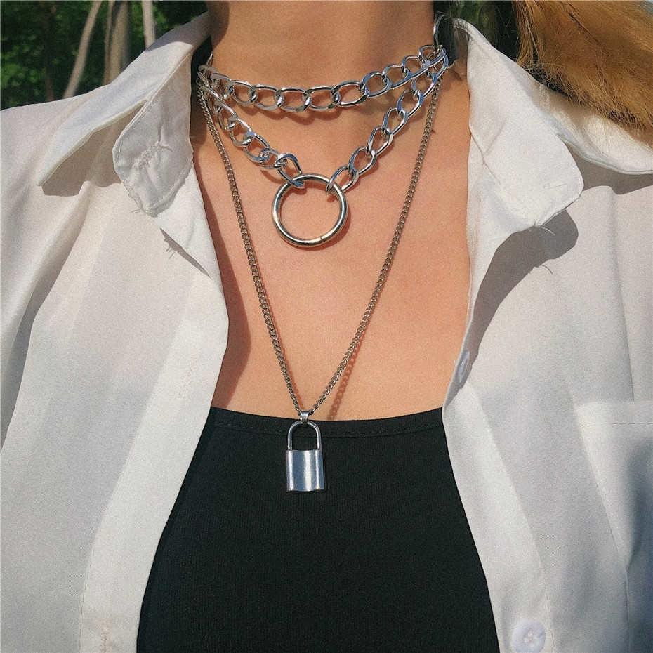 E-girl E-boy Punk Gothic Big Lock Key Angel Pendant Necklace 45