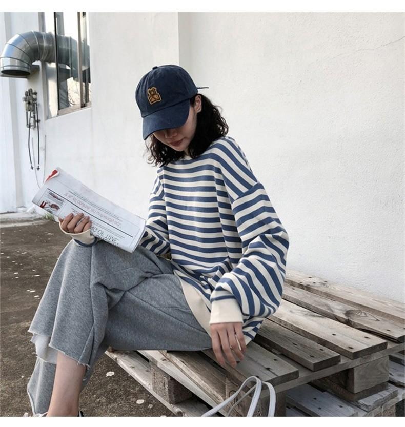 Harajuku E-girl Grunge striped cotton Sweatshirt 41