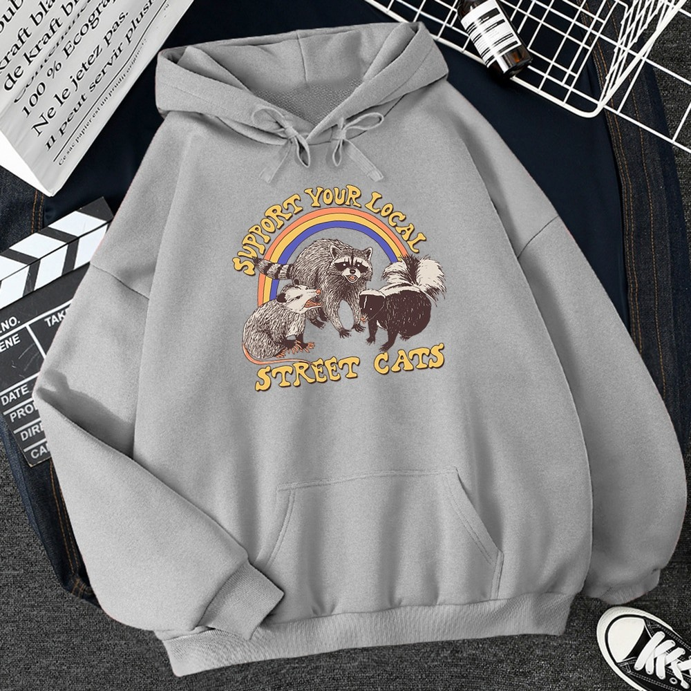 E-girl E-boy Harajuku Hoodie with Support Your Local Street Cats Print 49