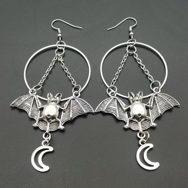 E-girl E-boy Gothic Moon, Star and Bat Earrings 2