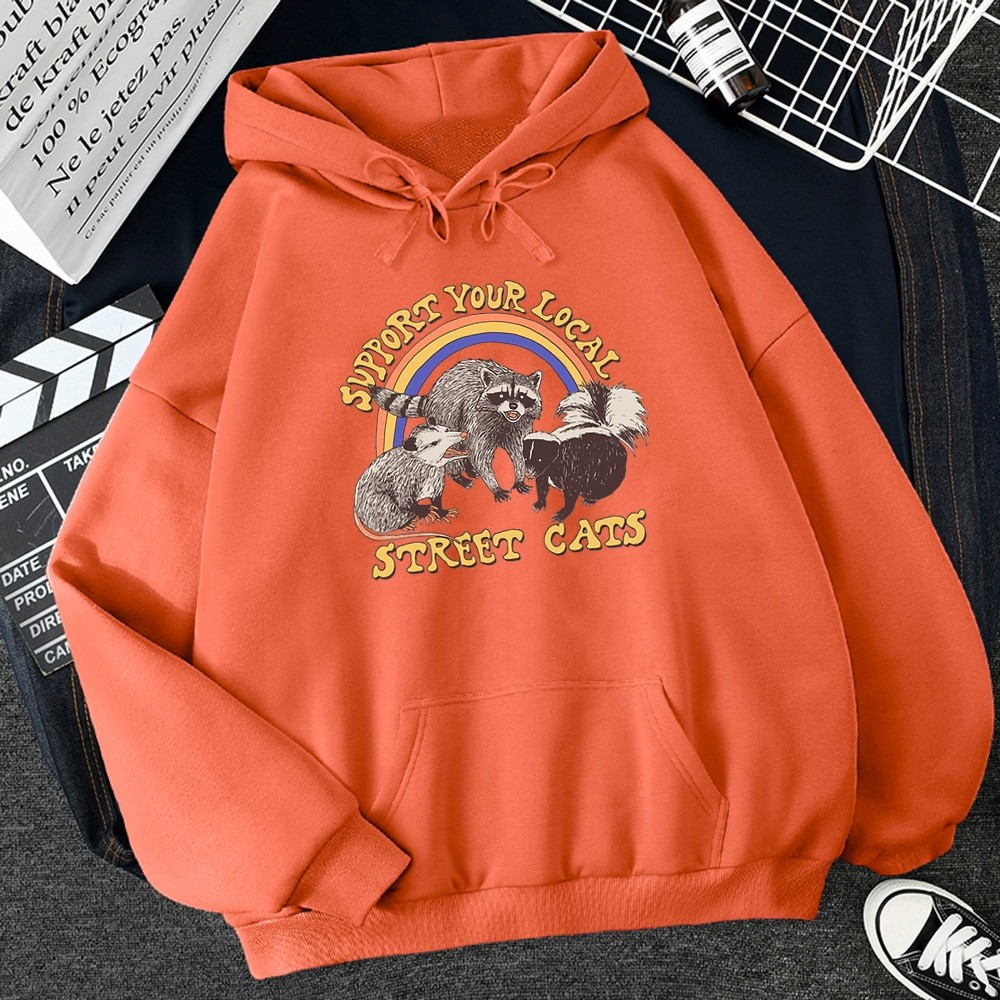 E-girl E-boy Harajuku Hoodie with Support Your Local Street Cats Print 42