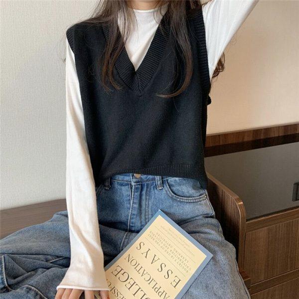 Soft Girl E-girl Harajuku Knitted V-Neck Sleeveless Vest 4