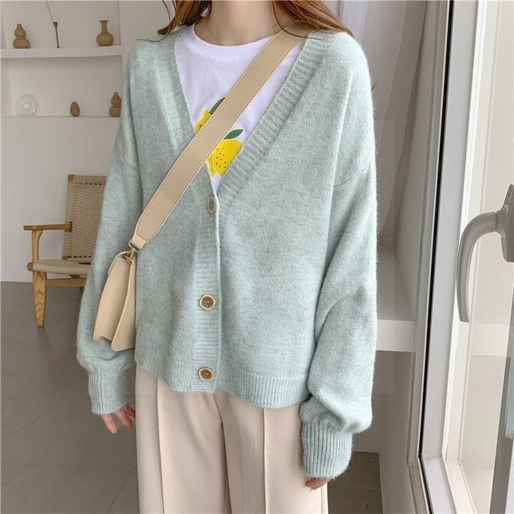 Harajuku E-girl Soft girl Kawaii Cardigan Solid Cashmere 56
