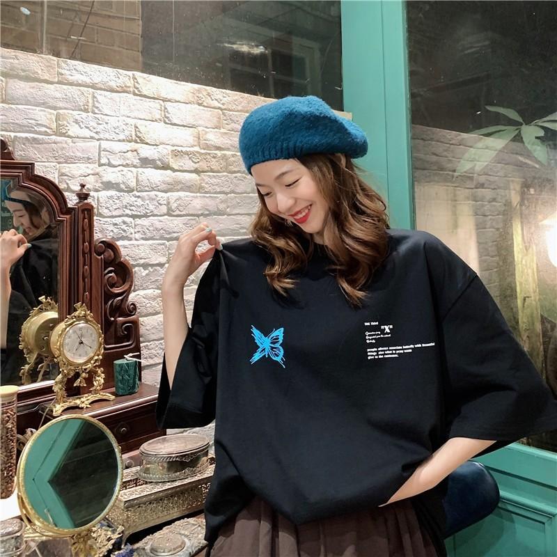 Harajuku E-girl E-boy Butterfly Print Loose T-shirt 45