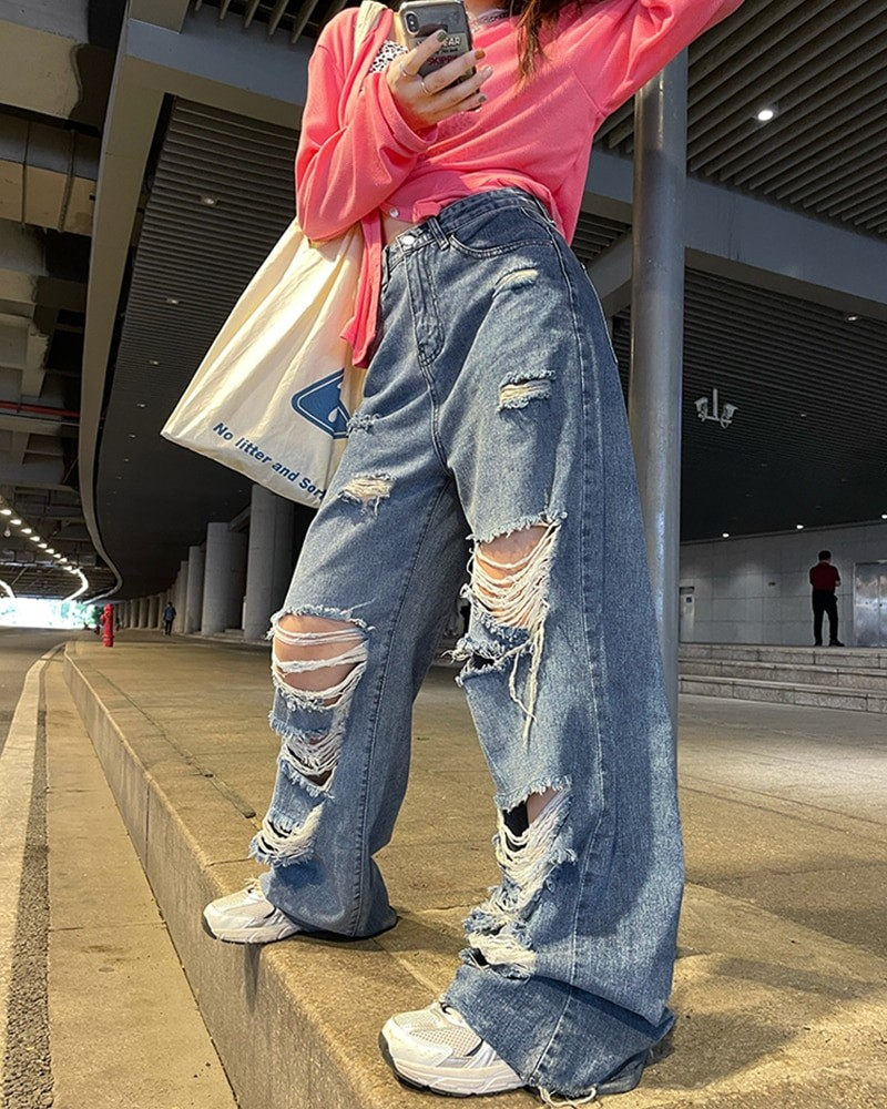 Harajuku Y2K Loose Ripped jeans with high waist 46