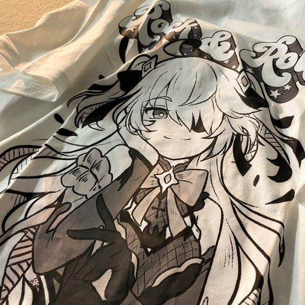 Harajuku E-girl Aesthetic T-Shirt with Anime Gothic cartoon print 5