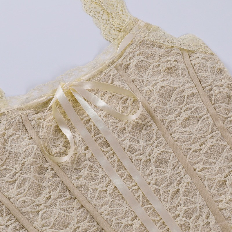E-girl Soft girl Y2K Retro Bow Lace Top 53