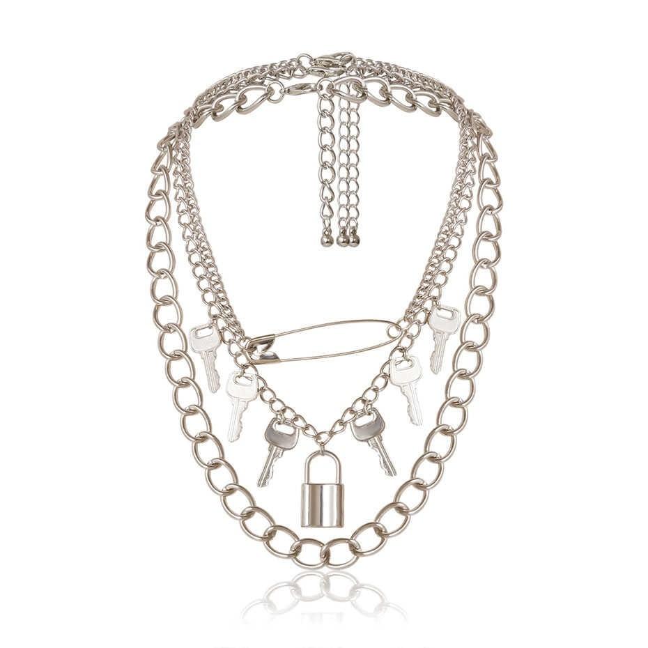 E-girl E-boy Punk Gothic Big Lock Key Angel Pendant Necklace 52
