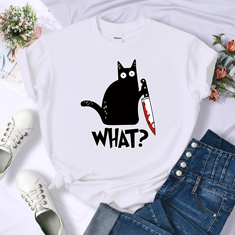 E-girl E-boy Harajuku Tshirt with Cartoon Black Cat Print 48