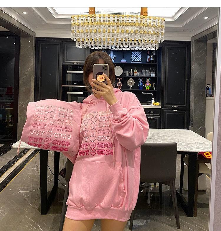 E-girl Soft girl oversized Harajuku hoodie with Good for You embroidery 44